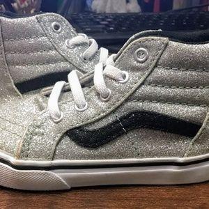 Vans Kids Sk8-Hi Zip  Glitter Girl's Sneakers NEW